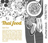 thai delicious and famous food...   Shutterstock .eps vector #705787792