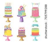 birthday party celebration... | Shutterstock .eps vector #705799288