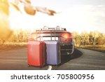 beautiful autumn aura on the... | Shutterstock . vector #705800956