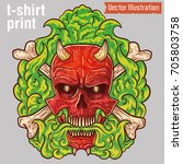 brutal tattoo evil skull in...   Shutterstock .eps vector #705803758