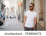 hipster handsome male model... | Shutterstock . vector #705804472