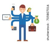 multitasking businessman vector ... | Shutterstock .eps vector #705807016