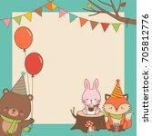 cute woodland cartoon animals... | Shutterstock .eps vector #705812776
