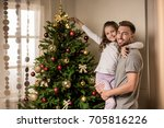 happy father and daughter... | Shutterstock . vector #705816226