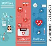 three medical vertical banners... | Shutterstock .eps vector #705819376