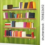 cartoon library bookshelf on... | Shutterstock .eps vector #705822652