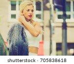 glamurous female fashion model... | Shutterstock . vector #705838618
