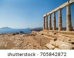 sunny day at temple of poseidon ... | Shutterstock . vector #705842872