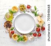 italian food or ingredients... | Shutterstock . vector #705848668