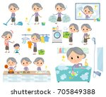 set of various poses of purple... | Shutterstock .eps vector #705849388