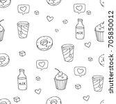 cute vector seamless pattern...   Shutterstock .eps vector #705850012
