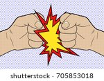 fist to fist pop art. vector... | Shutterstock .eps vector #705853018
