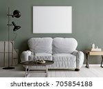 white mock up poster with beige ... | Shutterstock . vector #705854188