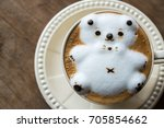 coffee with cute bear shape... | Shutterstock . vector #705854662