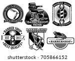 barbershop badge design set | Shutterstock .eps vector #705866152