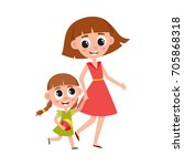 mother and daughter  little... | Shutterstock .eps vector #705868318