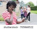 teenage girl being bullied by... | Shutterstock . vector #705868522