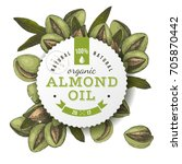 organic almond oil emblem over... | Shutterstock .eps vector #705870442