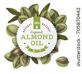 organic almond oil emblem over... | Shutterstock .eps vector #705870442