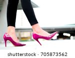 leg of woman beauty put on pink ... | Shutterstock . vector #705873562