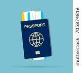 passport with tickets | Shutterstock .eps vector #705874816