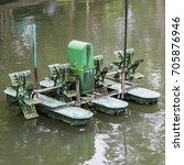 Small photo of aerator paddle wheels filling oxygen in canal
