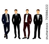 wedding men's suit and tuxedo.... | Shutterstock .eps vector #705886222