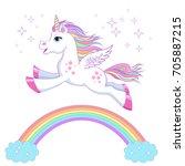 unicorn vector  illustration....   Shutterstock .eps vector #705887215