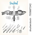 hand drawn fish cut into slices.... | Shutterstock .eps vector #705887242