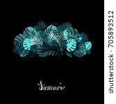 banner with tropical palm and... | Shutterstock .eps vector #705893512