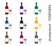 red wine icon in black style... | Shutterstock .eps vector #705893896