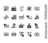 money flat icons. | Shutterstock .eps vector #705901285