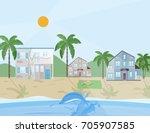 Sea Shore Village Vector...