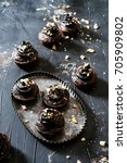 chocolate avocado cupcakes with ... | Shutterstock . vector #705909802