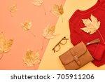 autumn arrives. fashion lady... | Shutterstock . vector #705911206
