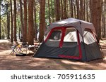 camping tent with desk and... | Shutterstock . vector #705911635