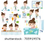 set of various poses of mother... | Shutterstock .eps vector #705919576