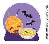 halloween pumpkin soup | Shutterstock .eps vector #705919702