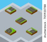 isometric road set of single... | Shutterstock .eps vector #705920788
