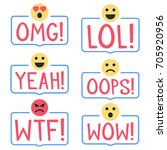 omg  lol  yeah  oops  wtf  wow  ... | Shutterstock .eps vector #705920956