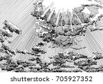 clouded sky view with sun rays. ... | Shutterstock . vector #705927352