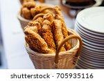 bread with sesame seeds   Shutterstock . vector #705935116