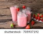 strawberry smoothie and... | Shutterstock . vector #705937192