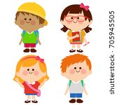 a happy group of children... | Shutterstock .eps vector #705945505