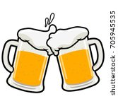 Toasting Beer Glasses. Vector...