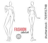 vector outline girl model... | Shutterstock .eps vector #705951748