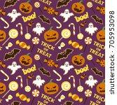 halloween vector seamless... | Shutterstock .eps vector #705953098