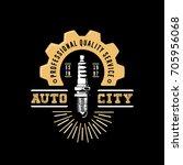 auto city logo. drawn spark... | Shutterstock .eps vector #705956068