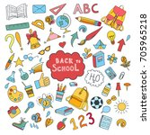 school and education doodles... | Shutterstock .eps vector #705965218