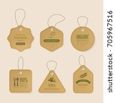 natural label and organic brown tag on cord. vintage kraft paper and badge design.